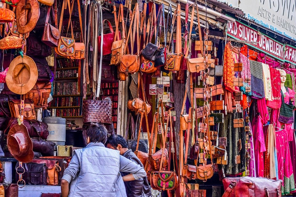 Market, Leather, Shopping, Bags, Colourful, Brown